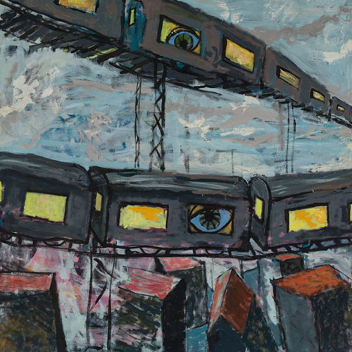 oil painting of dark grey trains with yellow windows