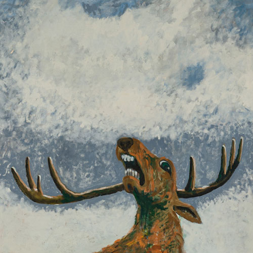 oil painting of startled deer baring its teeth and looking at the sky