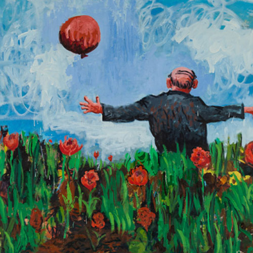 oil painting of back-view of older man in a field of red flowers holding a red balloon