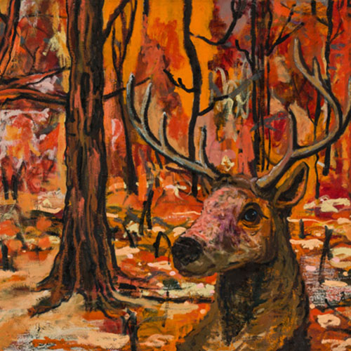 oil painting of deer head in an orangey-red forest