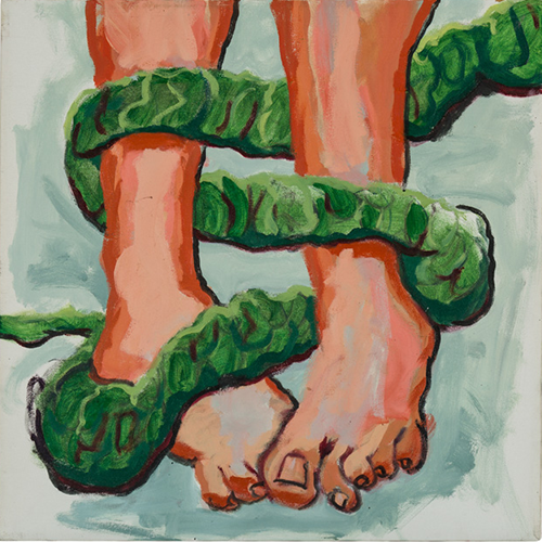 oil painting of green snake tangled around brown feet